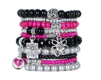 Beaded Bracelets Set of 10 Stretch Bracelets Bohemian Themed Stack with Silver Tone Nature Charms