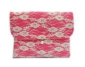Handmade felt cosmetic bag with cream lace subtile swarovski pearls (ready to ship)