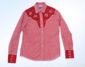 H Bar C Western Shirt 1970s Applique Embroidered Yoke Vintage Red Rockabilly Gingham Floral Embroidery Shirt Two Tone Solid and Check