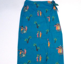 Hawaiian Sarong Vintage Blue Tropical Village Wrap Skirt 1980s 1990s Breeches Polynesian Swimsuit Cover Up Men and Women Carrying Fruit Tiki