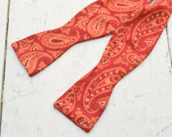 1960s Red Paisley Silk Bow Tie