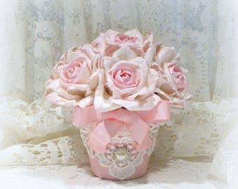 Floral Arrangement, Shabby Chic Decor, Parchment Paper Roses, Shabby Chic Roses, Potted Roses, Pink Floral Arrangement, Roses