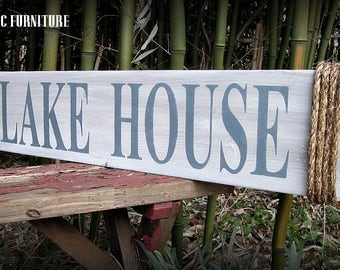 Lake House Wood Sign~ Wall Decor~ Art~Nautical~Coastal~CUSTOM COLORS