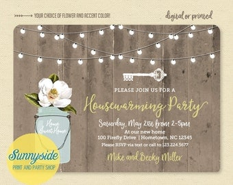 Rustic Housewarming Invitation - House Warming Party Invitation - Mason Jar Barnwood & Lights Printable Invite, Home Sweet Home