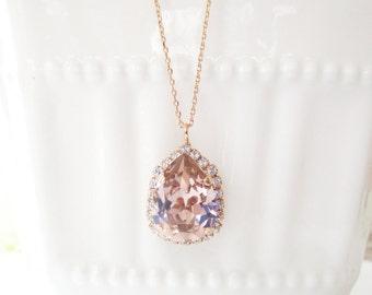 Blush Rose Gold Necklace, Bridesmaid Necklace, Bridal Necklace, Rose Gold Necklace, Swarovski Teardrop,Blush Bridesmaid Jewelry,Wedding