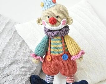 PATTERN - Chatterbox the Clown - crochet amigurumi pattern, PDF (English, Dutch)