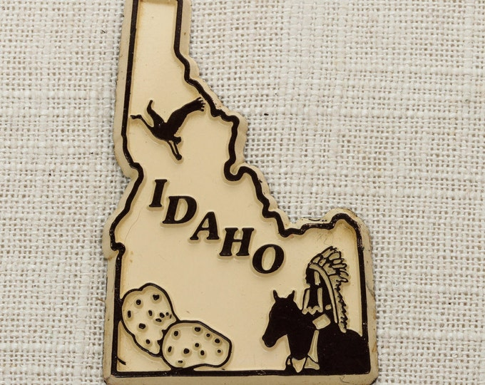 Idaho Vintage State Magnet | Potatoes West Travel Tourism Summer Vacation Memento | USA America 'Merica | Fridge Refrigerator