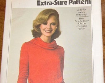 Vintage 1970s Sewing Pattern Simplicity ESP 8188 Pullover Cowl Neck Knit Dress Womens Misses Size 10 12 14 Bust 32 34 36 Uncut Factory Folds