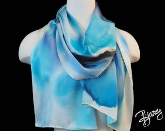 Hand Painted Charmeuse Silk Scarf in shades of blue