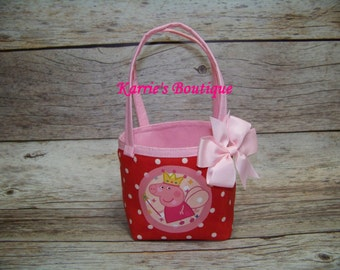 Peppa Pig Reversible Purse / Pink & Red /  Bow / Princess / Photo Prop / Birthday / Pageant / Toddler / Girl