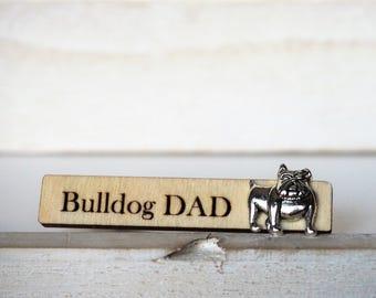 English Bulldog Tie Clip Bulldog Dad Tie Tack Dog Engraved Tie Bar Laser Cut Grooms Gift