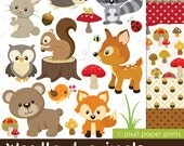 Woodland Animals - Clip art and Digital paper set