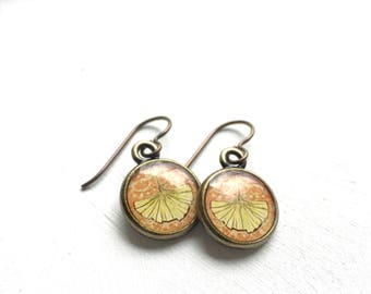 GINKGO EARRINGS, Ginkgo Leaf Jewelry, Ginkgo Earrings, Ginkgo Art Jewelry, Nature Earrings, Bronze Earrings, Art Nouveau Inspired