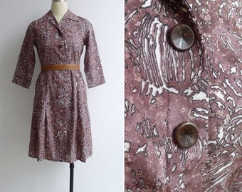 Vintage 70's Maroon Abstract Print Button Front Shirt Dress XS or S