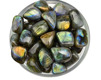 "1 Large Flashy LABRADORITE Tumbled Stone Size 1"" Polished Crystal for Magic Healing Crystal and Stone #LL01"