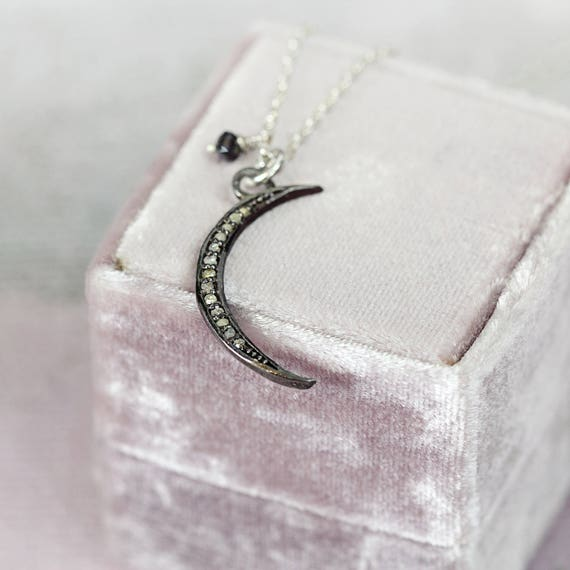 Diamond Moon Necklace - Crescent Moon & Star Necklace