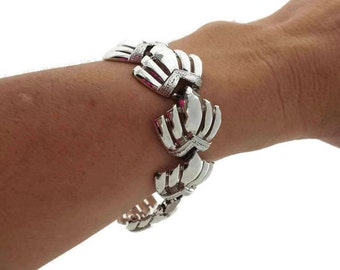 Vintage Bracelet Coro Bracelet Silver Fan Bracelet Coro Jewelry Vintage Jewelry Antique Jewelry 1950s Jewelry Mod Jewelry Madmen
