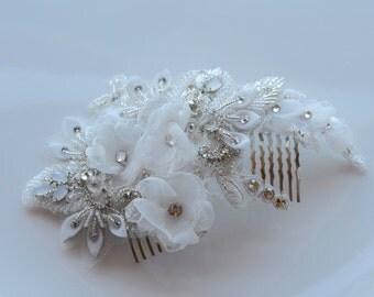 Ivory Crystal Bridal Comb, Beaded Bridal Fascinator, Wedding Flower Headpiece