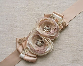 Rustic Bridal Sash Bridal Belt Wedding Dress Sash Flower Sash Champagne Beige Tan Gold Vintage Shabby Chic Burlap Lace Wedding Accessory