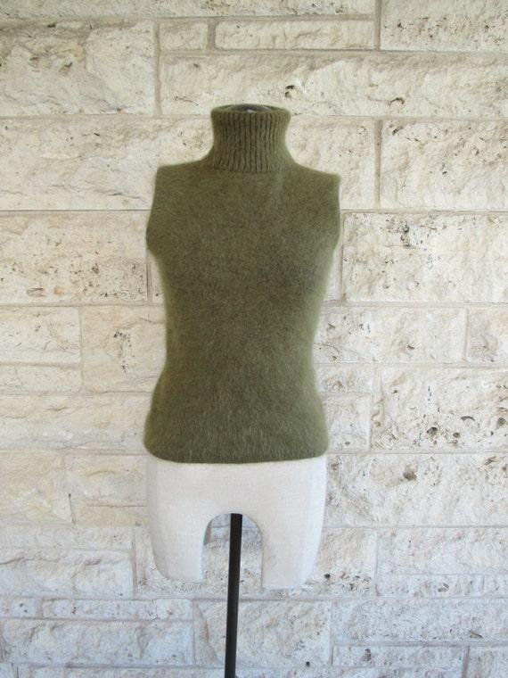 90's Mohair Sweater Small Mod Top Moss Green Fuzzy Sweater Sleeveless Mod Sweater