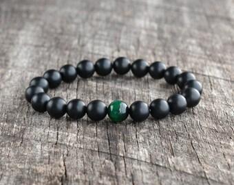 8mm Green Tiger Eye Bracelet, Matte Onyx Bracelet, Mens Bracelet, Black Bead Bracelet, Womens Gemstone Bracelet, Yoga Bracelet, Gifts
