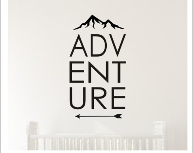 Adventure Wall Decal Boys Adventure Themed Nursery Mountain Peak Arrow Nature Bedroom Decor Various Sizes and Colors Girls Nursery Vinyl