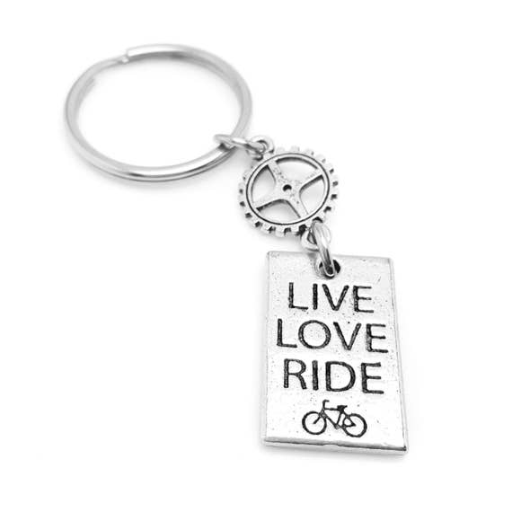 LIVE LOVE RIDE Cycling Keychain - Cyclist - Bicycle - Bike Key Chain - Spinning Accessories - Bike Gifts - Cycling Gifts - Workout