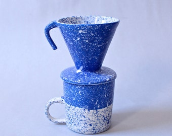 Speckled Coffee Pourover Blue and White Single Cup Coffee Maker Made to Order