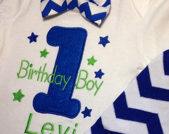 Boys First Birthday Outfit Royal Blue and Lime, Birthday Boy,Baby Boy Chevron Leg Warmers, Baby Boy Clothes, Pick & Choose,Cake Smash,Gift