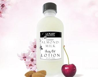 NOURISHING cherry ALMOND MILK Organic Body Oil Lotion. Chemical Free - Organic Body Lotion - Organic Body Oil -  Pampers Skin