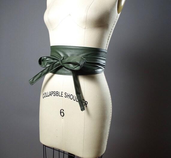 Vegan Leather Obi Belt - Green Leather Obi Belt - Women's Wrap Belt - Leather Obi Belt