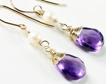 Amethyst Earrings, Gold filled, White Freshwater Pearls, purple gemstone earrings, boho, holiday gift for her, February birthstone, 2785