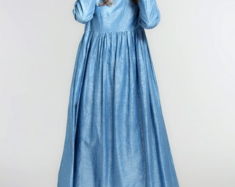 Blue Maxi Dress, Maxi Linen Dress, Maxi Beach Dress, Empire Waist Dress, Long Sleeve Dress, Blue Dress, Loose Fitting Dress, Linen Kaftan