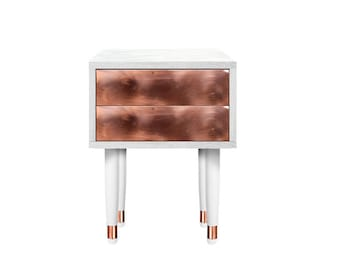 Bedside table Eldfell two drawer. Solid wood Furniture. Copper Furniture. Handmade furniture
