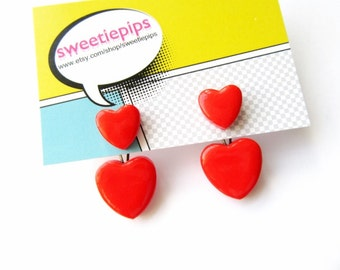 Ear Jackets Heart Front and Back Earrings Valentines Hear Shaped Earring Jacket FREE UK SHIPPING