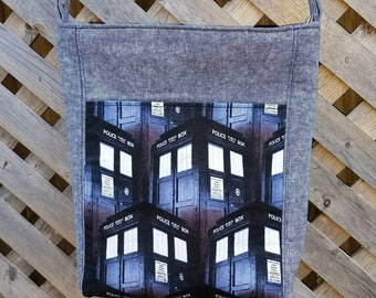 Hipster Bag, Crossbody Bag, Messenger Bag, Zippered Purse, Police Box, Doctor Who, Ready to Ship