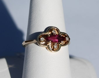 14K Yellow Gold Marquis Ruby and Diamond Ring