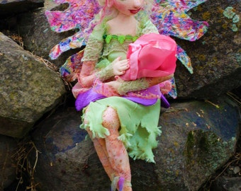 Cloth Art Doll Mother and Baby Fairy