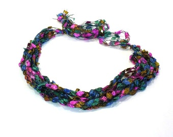 Multicolor Ladder Yarn Necklace in Pink, Green, Gold and Blue - Handmade Fiber Necklace, Crochet Choker, Vegan Jewelry, Ready to Ship