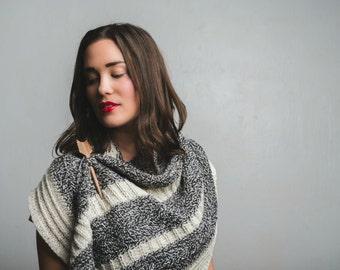 Feyre Crescent Shawl Knitting Pattern Marl Textured Modern PDF