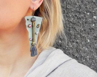 Steampunk dangle earrings Extra long leather earrings with Raw Kyanite Rough crystal earrings Industrial jewelry Oversized weird earrings
