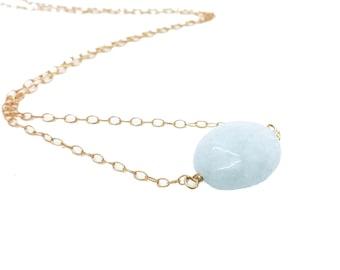 Aquamarine Necklace, Aquamarine Pendant Necklace, Milky Aquamarine, March Birthstone, Everyday Necklace, Bridesmaid Gift, Gift for Her