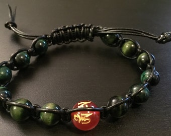 Green Tigers Eye & Tibetan Om Mantra Red Agate Bead Leather Slide Bracelet