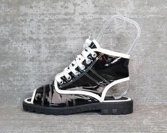 Vtg 90s Black Patent Hightop Open Toe Lace Up Shoes Sandals 7.5