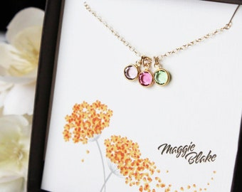 Birthstone necklace birthstone necklace for mom birthstone necklace for grandmother grandma mothers day gift new mom multiple charm neck