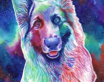CUSTOM DOG PORTRAIT, from photo, german shepherd, alsatian portrait, watercolor dog painting portrait, pet custom painting, dog memorial