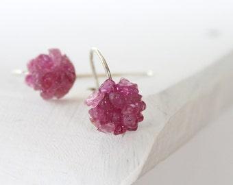 Pink sapphire earrings - sterling silver earrings - Gentle talisman