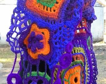 freeform crochet scarf/ ART DECO shawl/ bold pattern purple wrap / wearable fiber art