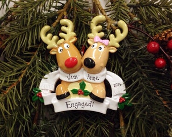 FREE SHIPPING Reindeer Couple with Scarves Personalized Christmas Ornament / Engagement Ornament / Couple Ornament / Our First Christmas