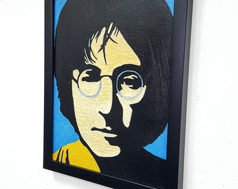 John Lennon Retro PoP ArT -  Framed Wall Art Giclee Canvas Paint,Painting, Poster,Print- Great Rock'n'Roll Home Decor